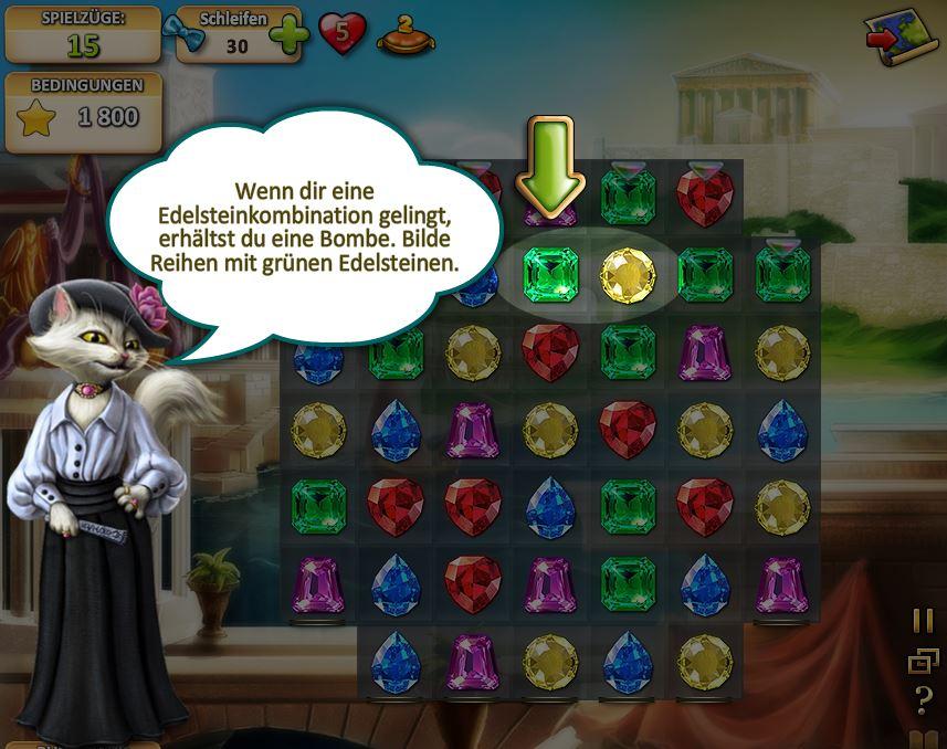 Löste Juwelen Puzzles um Artefakte zu bekommen.